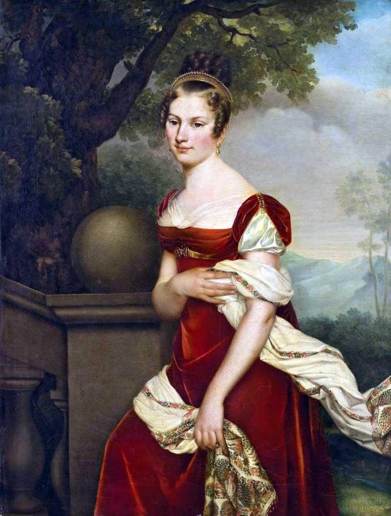 1815 Портрет Аглаи Констанции Будар в красном бархатном платье Адель Романи (Adele Romany), 1769 184