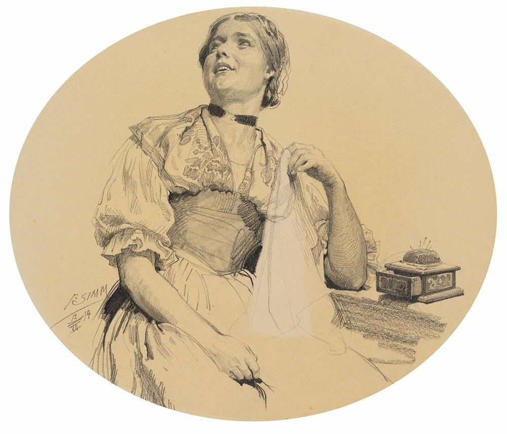 Franz-Xaver-SIMM-1853-1918-Nahendes-Madchen-1914-Bleistift.jpg