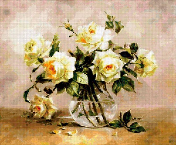 Розы в стеклянном кувшине