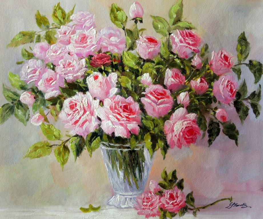 kartina maslom buket nezhnykh roz razmer 60 50 sm